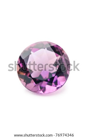 amethyst jewel, precious gemstone isolated against a white background - stock photo