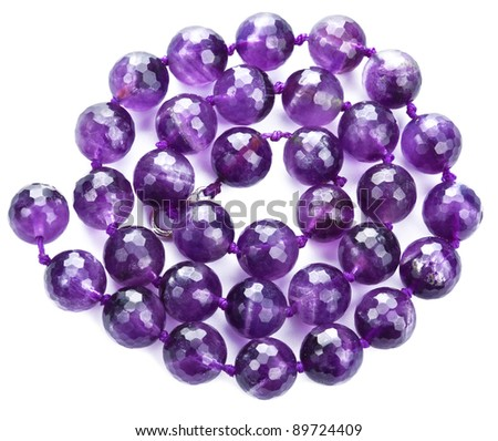 amethyst necklace isolated - stock photo