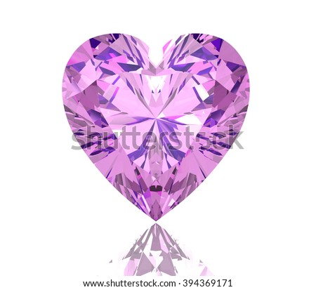amethyst on white background (high resolution 3D image) - stock photo
