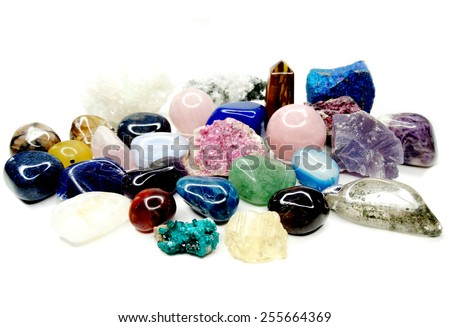 amethyst quartz avanturine sodalite garnet semigem crystals geological mineral isolated  - stock photo