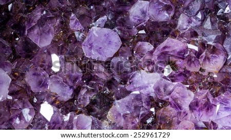 amethyst raw mineral gemstone macro - stock photo