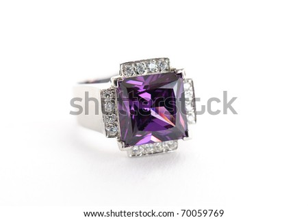 amethyst ring in silver isolated against a white background - stock photo