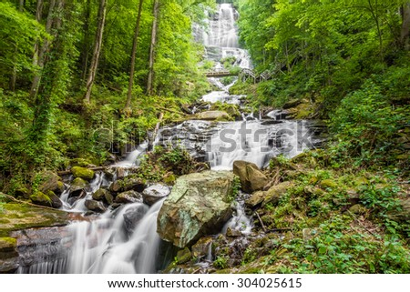 Amicalola Falls, stairs, and foot bridge,  in Georgia's State Park. - stock photo