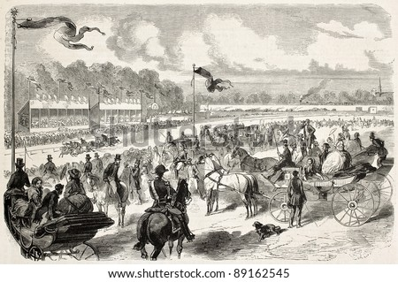 Amiens racecourse old illustration, France. Created by Worms, published on L'Illustration, Journal Universel, Paris, 1858 - stock photo
