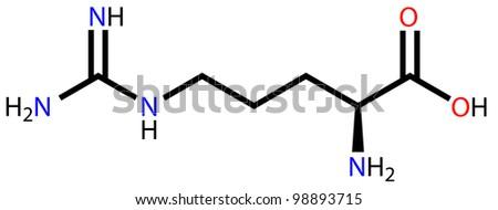 Amino acid arginine structural formula - stock photo