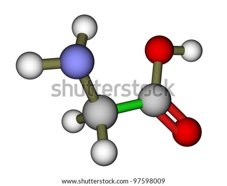 Amino acid glycine molecular structure - stock photo