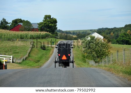 Amish buggy on a road in eastern Pennsylvania - stock photo