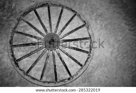 Amish Buggy wheel black and white