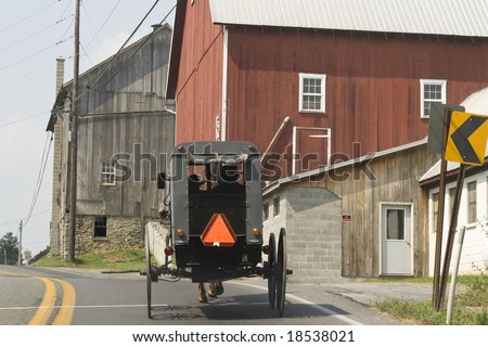 Amish buggy with two men with hats inside seen from behind - stock photo