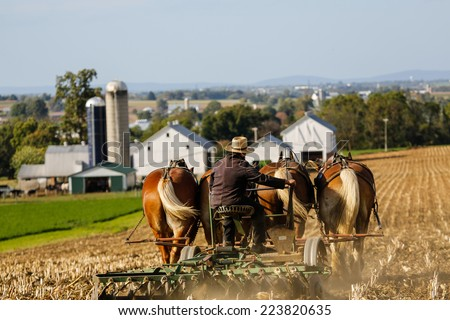 Amish farmer on horse drawn plow with farm in background in rural Pennsylvania.  - stock photo