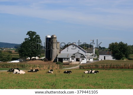 Amish Farmhouse and barn in Lancaster county, Pennsylvania - stock photo