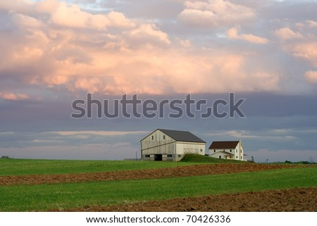 Amish Farmstead at Sunset (Lancaster County,Pennsylvania) - stock photo