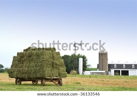 Amish Hay Wagon - stock photo