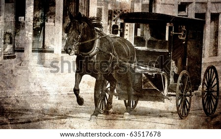 Amish horse and buggy being driven down a street, grunge textured.. - stock photo