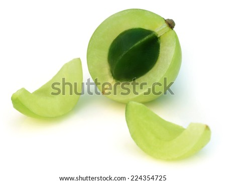 Amla fruit over white background - stock photo