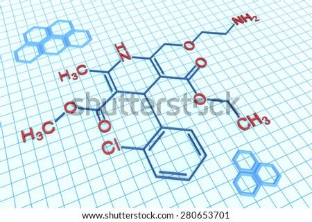 Amlodipine structural formula - stock photo
