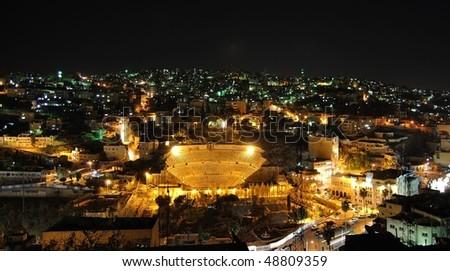 Amman by night - stock photo
