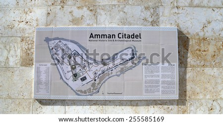 Amman city landmarks-- old roman Citadel Hill (Site plan legend), Jordan  - stock photo