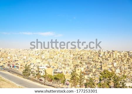 Amman City viewed from Amman Citadel in Amman, Jordan.  - stock photo