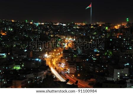 Amman heights at night - stock photo