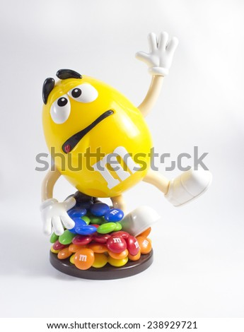Amman, Jordan - November  1, 2014: M&M's character isolated on white. - stock photo