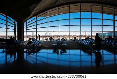 AMMAN, JORDAN, NOVEMBER 16 2013, Waiting room in Queen Alia International Airport. - stock photo