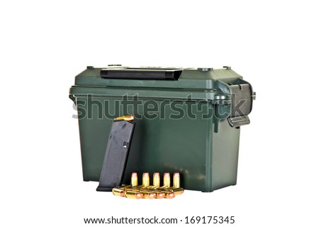 Ammo Box with  Loaded High Capacity Handgun Magazine and Bullets - stock photo