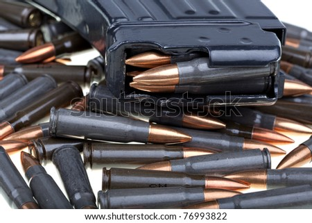 Ammo forAK 47, favorite terrorist gun - stock photo