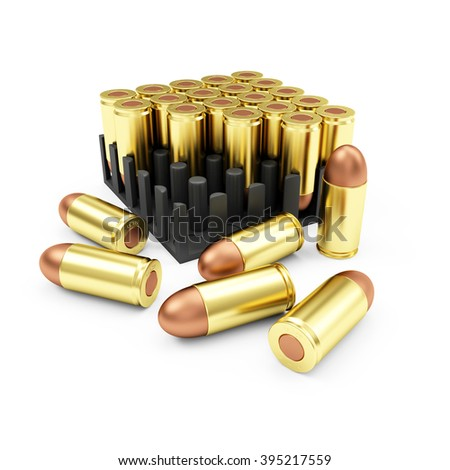 Ammo Pack Box of Gun Bullets 9mm isolated on white background. Military Weapons Concept. - stock photo