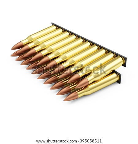 Ammo Pack of Rifle Bullets isolated on white background. Military Weapons Concept. - stock photo