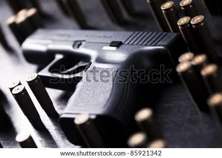 Ammunition and automatic handgun - stock photo