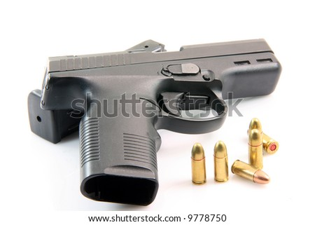 ammunition and automatic handgun isolated on white background weapons arms - stock photo