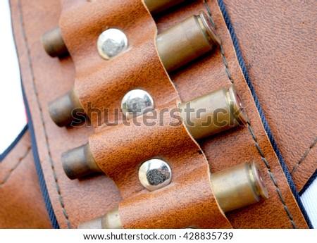 ammunition artificial leather belt - stock photo