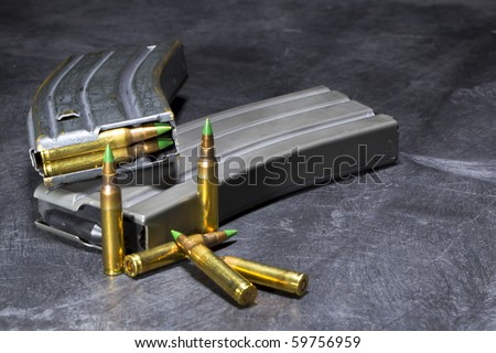 Ammunition for an American AR-15 assault rifle in a studio environment - stock photo