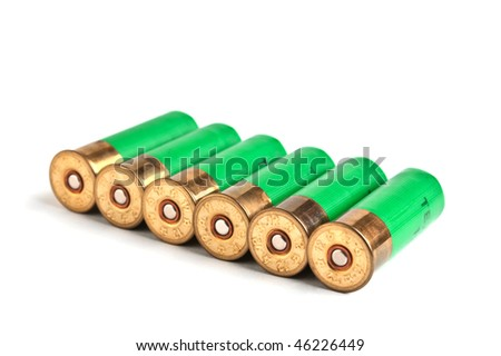 ammunition for hunting rifles isolated on a white background - stock photo
