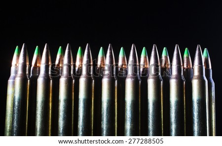 Ammunition for rifles that has bullets with a steel tip - stock photo