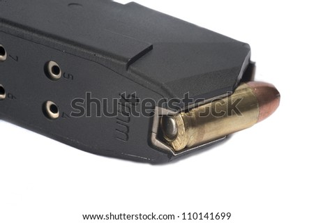 Ammunition magazine on white background - stock photo