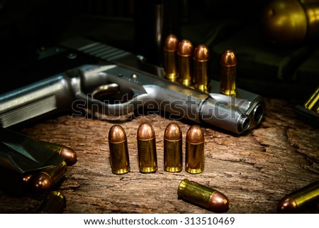 Ammunition . 11 mm. / 0.45 inches - stock photo