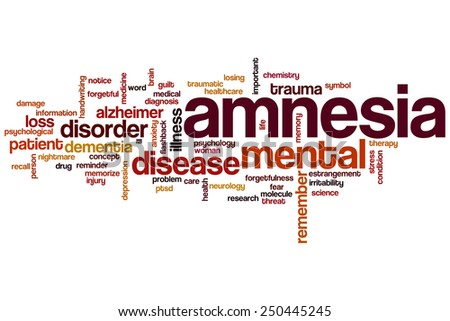 Amnesia word cloud concept - stock photo