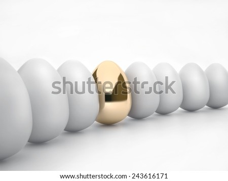 among the usual white eggs one gold, all isolated on white background - stock photo