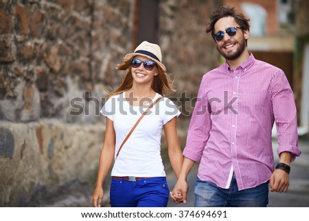 Amorous tourists - stock photo