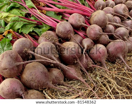 amount of beetroots lying one on another - stock photo