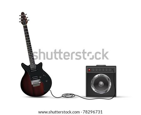 Amp & Guitar - stock photo