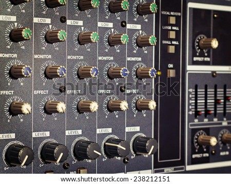 amp panel with handles in the background - stock photo