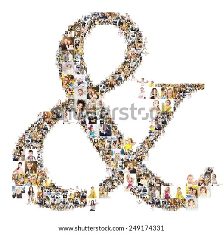 ampersand formed of photos of people. Isolated  - stock photo