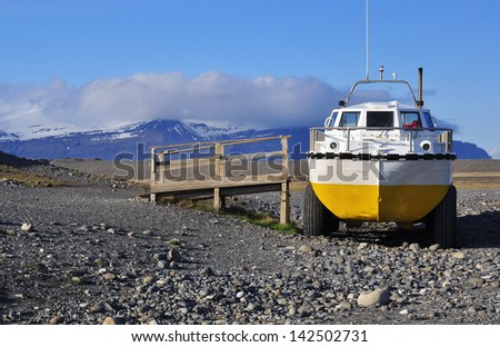 Amphibian Vehicle in east Iceland - stock photo