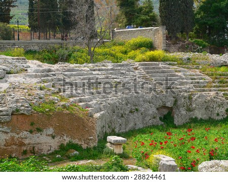amphietheatre in the village of ancient corinth covered in spring flowers