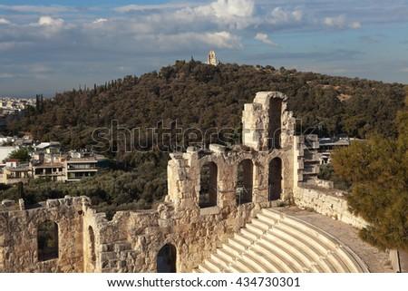 Amphitheater Acropolis. Fragment. Athens, Greece. - stock photo