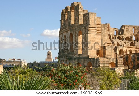 Amphitheater at El Djem, Tunisia.  Once a Roman theater, today an UNESCO Heritage Site. - stock photo