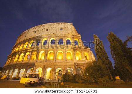 Amphitheater at night, Colosseum, Rome, Lazio, Italy - stock photo